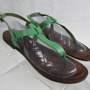 MATISSE Sandals 10M Flat Green Leather